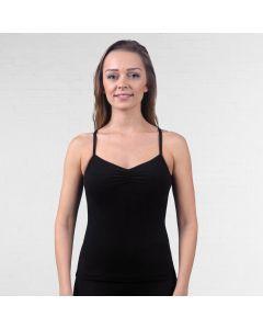 Lulli Camiseta de Danza de Tirantes con Fruncido de Algodón Peinado Ursula