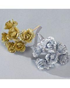 Paquete de seis ramos de flores con brillantina