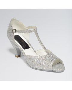 "Zapatos para Bailes de Salón ""Chloe"" Plata & Blanco con Brillos Multiholográficos"