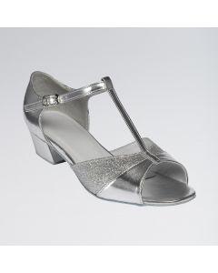 Amber Zapatos de Baile de Salón Plateados con Brillantina Con Tira en Forma de T y Hebilla