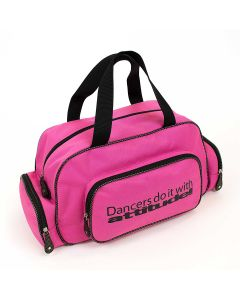 "Bolsa rosa de deporte con brillantina ""Dancers do it with attitude!"""