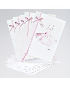 Tarjetas con dibujo de tutú rosa (paquete de 5)