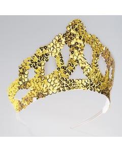 Tiara de lentejuelas doradas grande